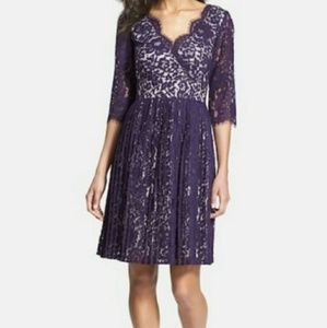 Eliza J Dress Purple Lace with Pleated Skirt